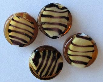 Lampwork Glass Beads, Tiger Stripe Glass Beads, Tiger Lampwork Coins, Tiger stripe glass disc Beads, 13x5mm, lot of 4