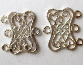 LD-17 Set of Two Two-Strand Heart Connector Links in Gold Bronze