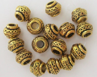 Cast Metal Spacer Beads, Ancient Style Metal Beads, Large Hole Gold Tone Metal Spacers, 3mm hole, lot of 15, 10x7mm