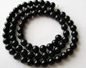 "Onyx Beads, Onyx Round Beads, Black Onyx Beads, Round Black Onyx, Natural Black Onyx, center drilled, 4mm, 13"" strand"
