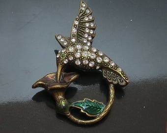 Vintage Rhinstone and Enamel Hummingbird Brooch