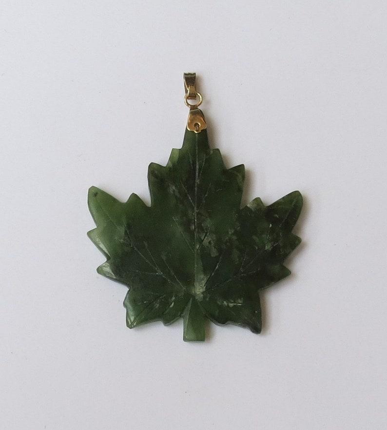 Vintage Jade Maple Leaf Pendant