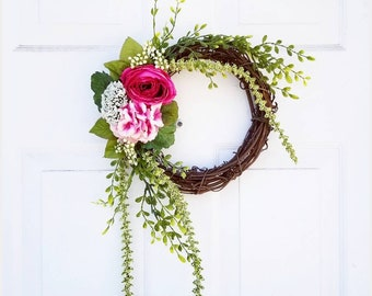 Rustic Spring Wreath for Door - Front Door Wreath - Boxwood Wreath - Housewarming Gift Ideas -Gifts for Her -Spring Home Decor -Mantle Decor
