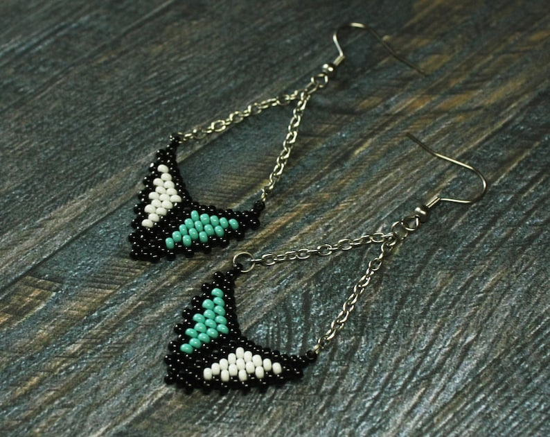 Turquoise triangle earrings Seed bead colorful rainbow dangling earrings Rainbow Turquoise Red earrings Multicolor triangle jewelry earrings