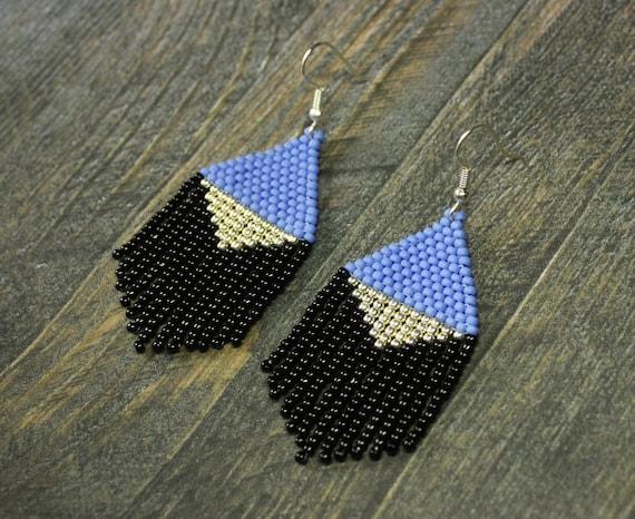 Dangle blue silver black earrings Yellow seed bead earrings Fringe bead earrings Chandelier beaded earrings gift Small jewelry boho earrings