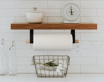 Minimal Paper Towel Holder modern alternative to countertop stand mounts under the cabinet with leather straps with birch or walnut wood
