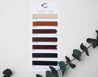 Sample card for leather options, leather swatches from Keyaiira, mix color leather, color catalog, sample book, leather color swatches