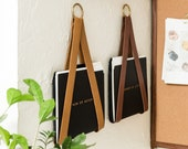leather strap hanging file storage organizer file holder for wall storage wall hung magazine holder office wall decor wall mail organizer