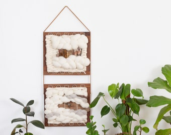 Hand Woven Wall Hanging Sustainable Wool, Natural Wood Bark & Plants tapestry nursery room décor organic modern farmhouse textile fiber art