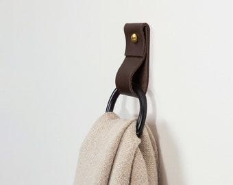 small leather strap black ring wall hook wall hanging storage towel hook modern bathroom towel rack leather loop strap holder scarf hanger