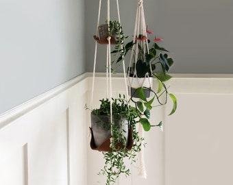 Double indoor hanging plant hanger leather plant hammock hanging indoor jungle air plant hanger macrame plant holder minimal planter decor