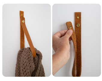 Leather Hanger Strap with Snap that Opens & Closes - functional wall entryway organizer hook bathroom hand towel holder brass boho decor