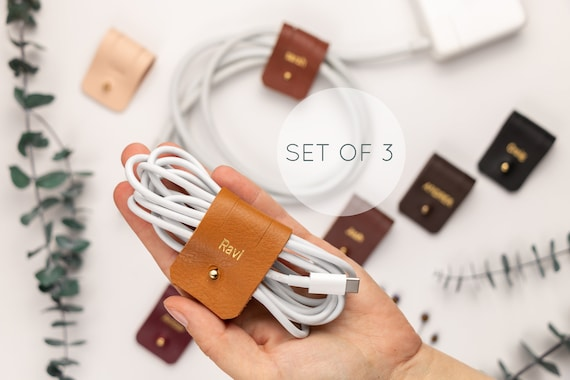 electronic charger organizers Gift for men Stocking stuffers gifts for Dad Handmade leather cable organizers 1 large 1 small leather cord wraps