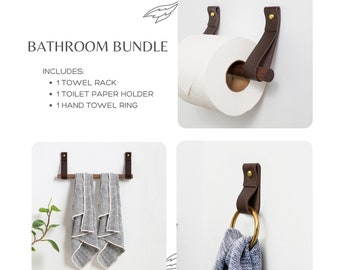 Leather, Brass & Wood Bathroom accessories kit includes wall mount strap Toilet Paper Holder, hanging Towel Rack, brass gold Hand Towel Ring