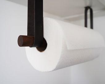 Leather & Wood Paper Towel Holder easy dispense space saving minimal design mounts under kitchen cabinets modern farmhouse Scandinavian