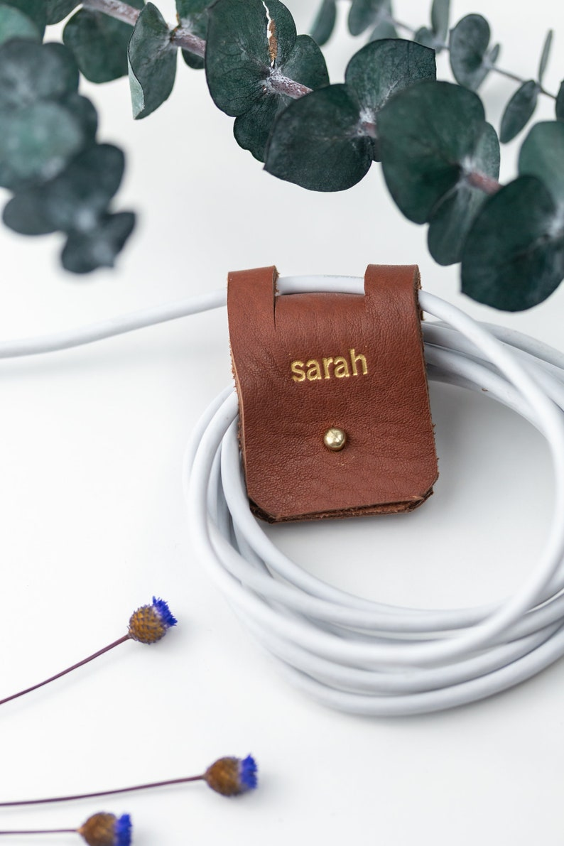set of 3 leather cord keepers personalized cord holders for her earbud holders leather cord organizers cable organizer gift for girls woman