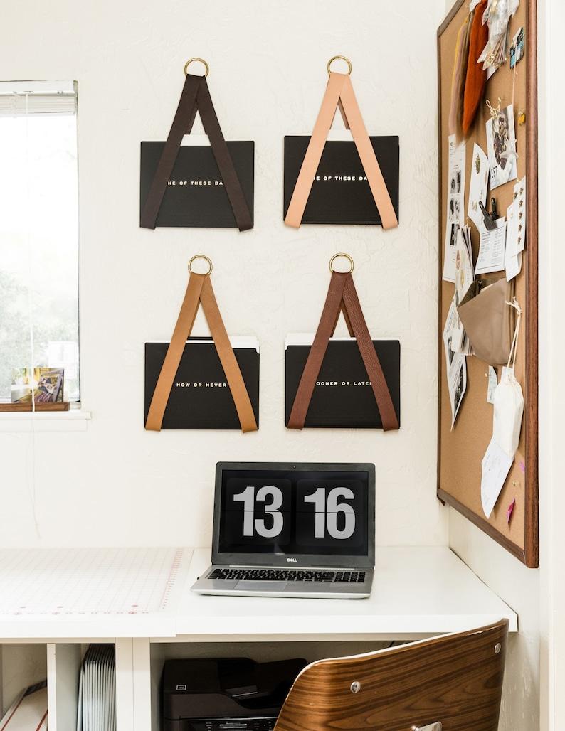 leather hanging file storage organizer wall hung magazine rack image 0