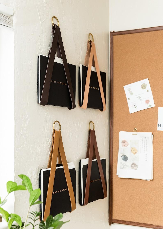 leather strap hanging file storage organizer file holder for image 0