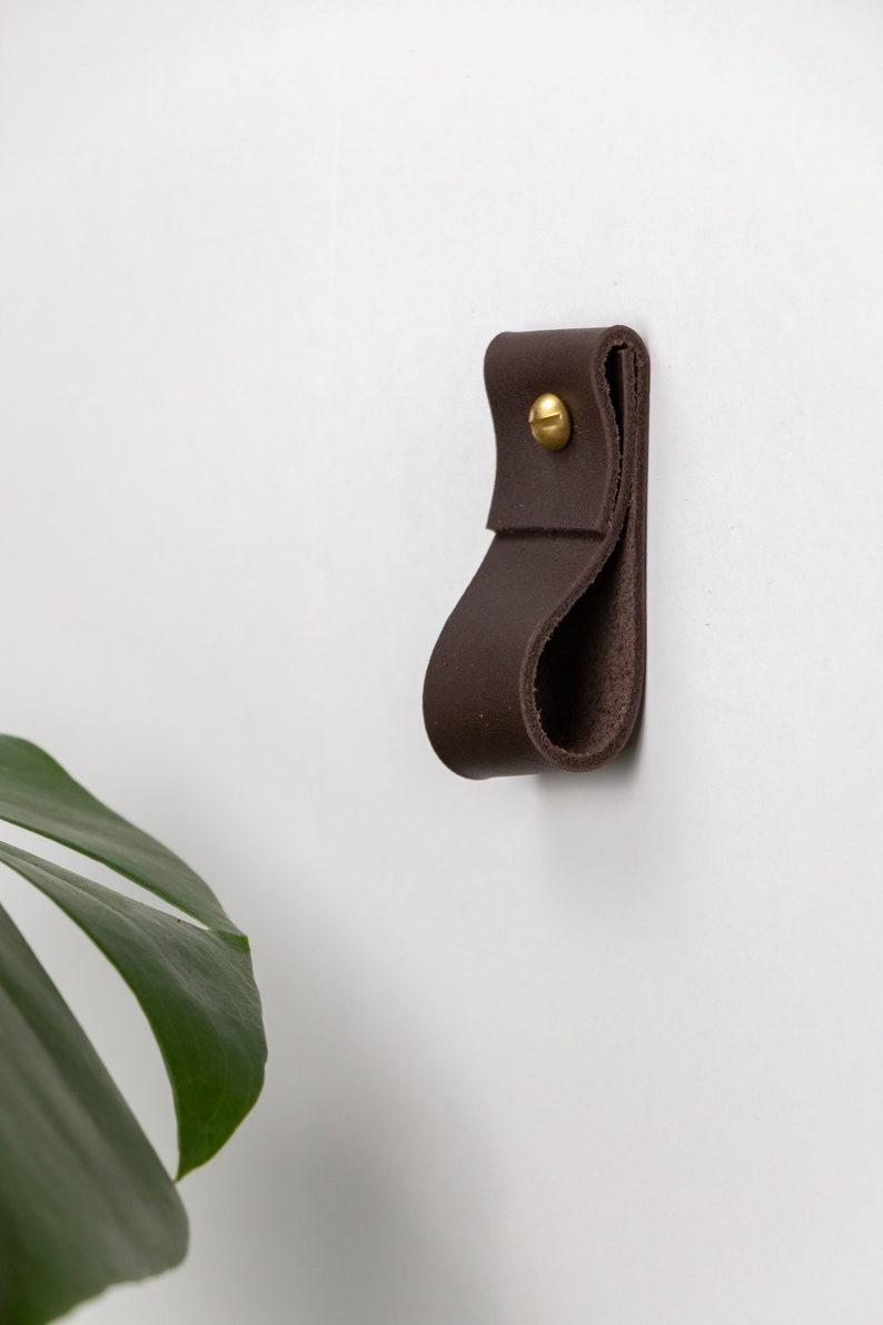 small leather strap brass ring wall hook wall hanging storage towel hook modern bathroom towel rack leather loop strap holder scarf hanger