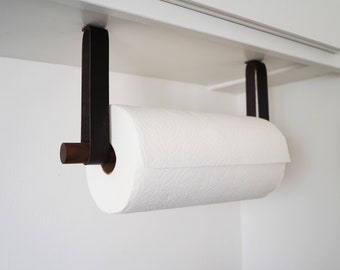 Kitchen Paper Towel Holder Dispenser easy to install mounted under the cabinet suspension mount simple leather & wood quick load design home