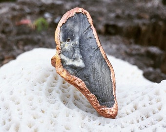 Copper Plated Shell Boho Statement Ring