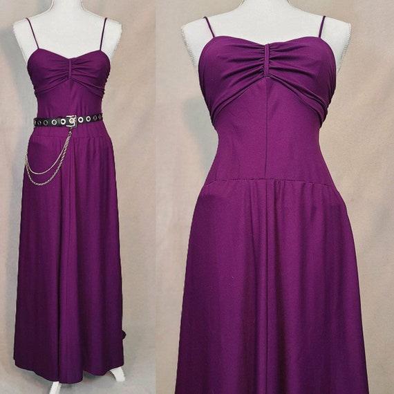 Vintage 1990s drop waist purple dress.
