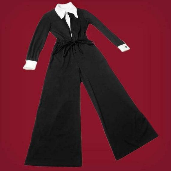 Witchy vintage 1970s Wednesday Addams jumpsuit! - image 1