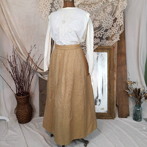 Antique Edwardian Victorian Tan White Linen 1860s… - image 2