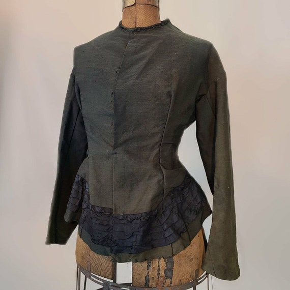 Gorgeous antique army green and black Victorian bo