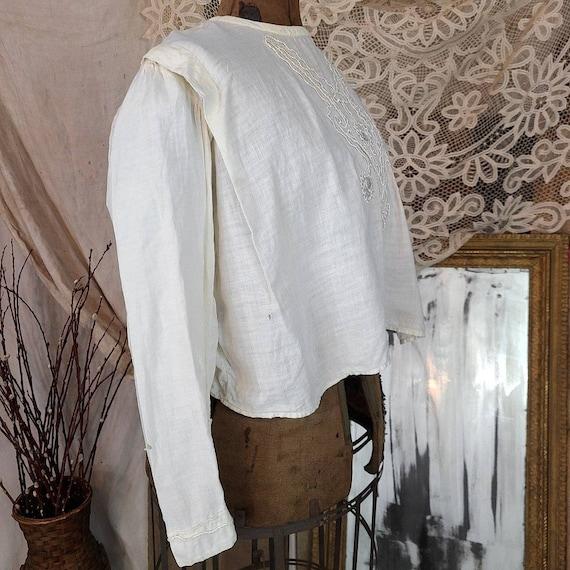 Antique Edwardian Victorian Tan White Linen 1860s… - image 4