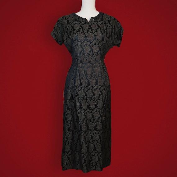 Gorgeous late 1940s silk brocade black dress!