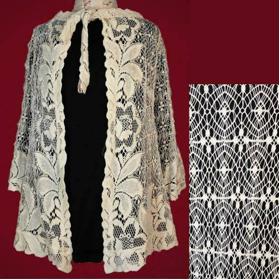 Antique early 1900s SPIDERWEB  crochet lace jacket