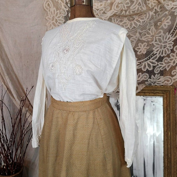 Antique Edwardian Victorian Tan White Linen 1860s… - image 3