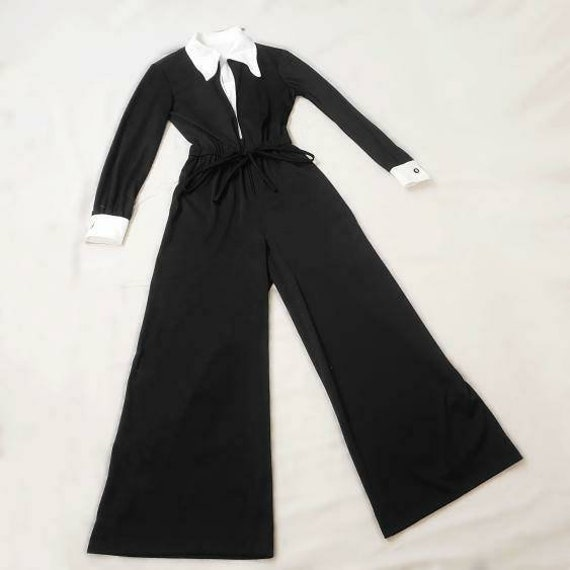Witchy vintage 1970s Wednesday Addams jumpsuit! - image 7