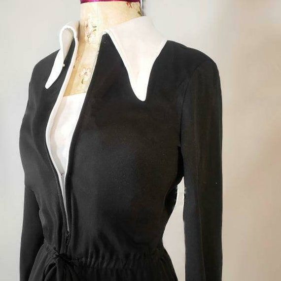 Witchy vintage 1970s Wednesday Addams jumpsuit! - image 4