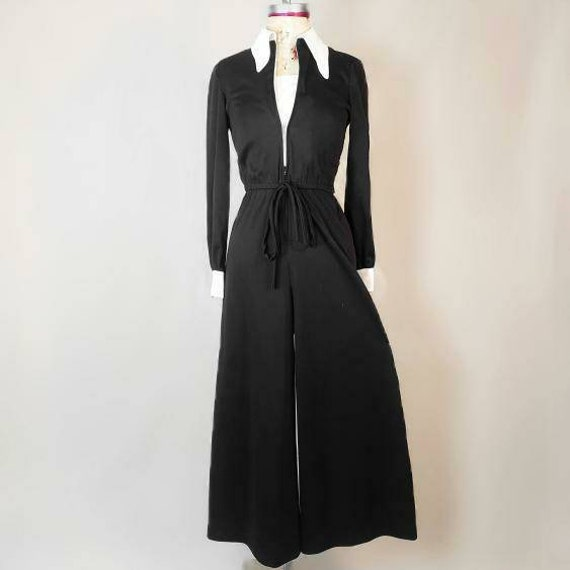 Witchy vintage 1970s Wednesday Addams jumpsuit! - image 3