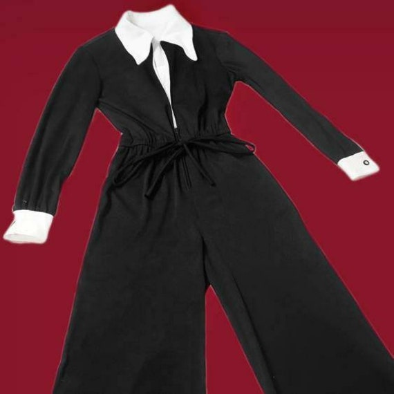 Witchy vintage 1970s Wednesday Addams jumpsuit! - image 2
