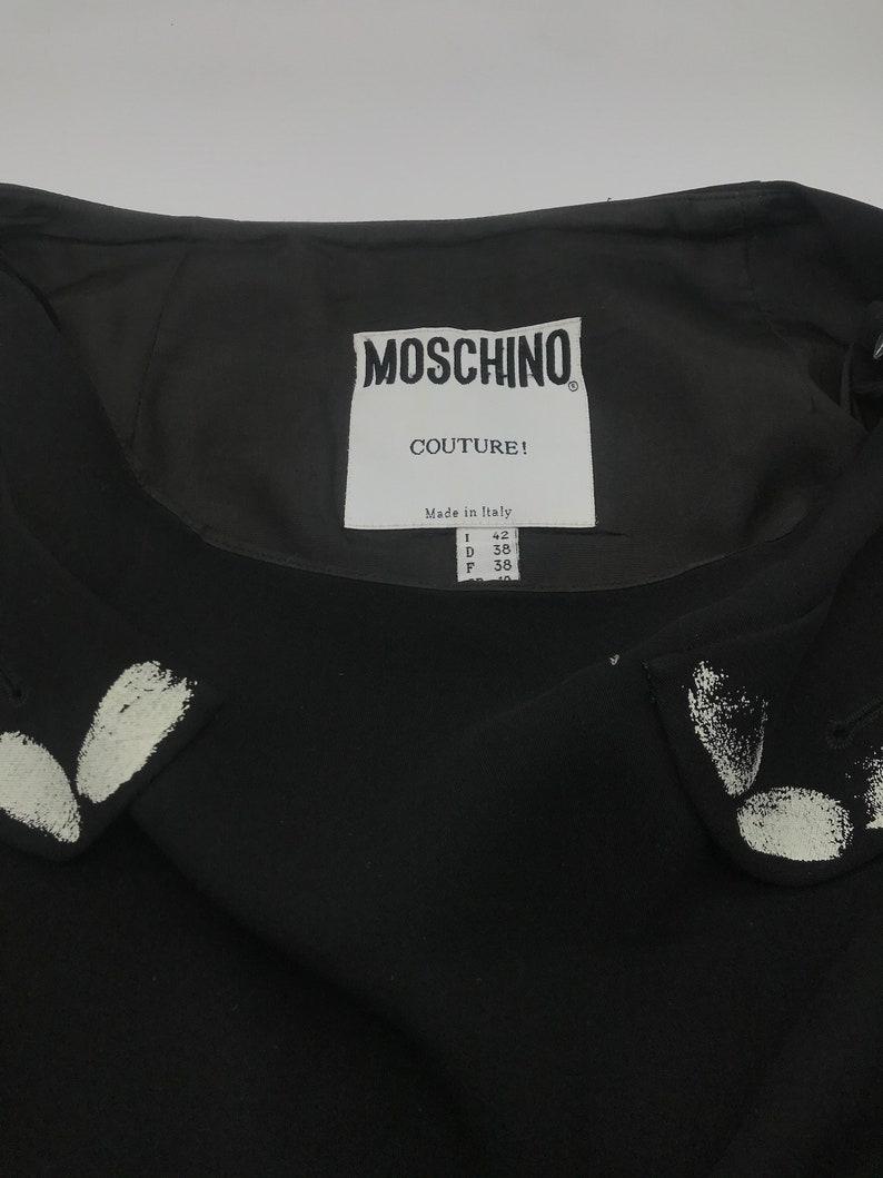 MOSCHINO silk black skirt with white finger print design