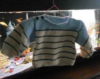 Navy striped baby sweater