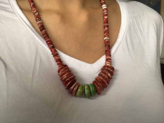 """Genuine Natural Spiny Oyster Shell Inlay 925 Sterling Silver Necklace 18/"""""""
