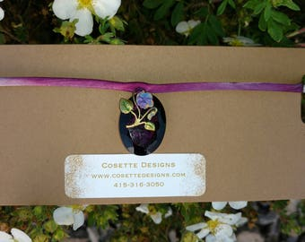 Violet glass gem choker
