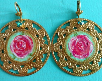 Hand-painted rose brass earrings