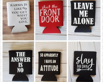 Christmas Home Alone French Funny Movie quote Can Cooler Koozie Party Favors