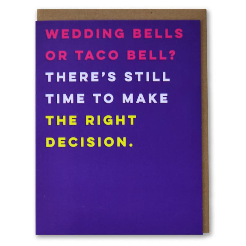 Wedding Bells or Taco Bell? – Funny, Modern Engagement Card