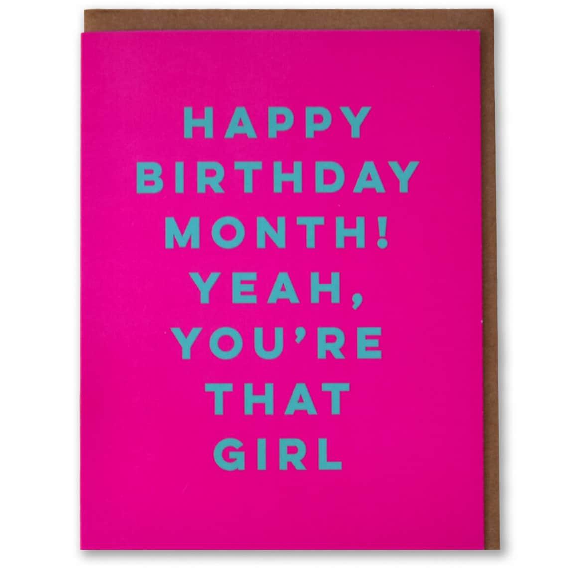 Happy Birthday Month Funny Modern Birthday Card | Etsy