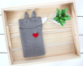 Rhino Phone Case, Fleece Phone Case, Animal Phone Case, Rhinoceros Phone Case, Rhino Gift, Phone Cover, Phone Sleeve, Phone Pouch, Grey