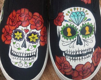 Hand painted *MADE TO ORDER* Sugar Skulls Shoes