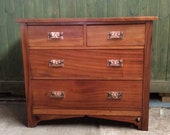 Midcentury Arts and crafts Liberty style copper handle two over two chest of drawers, Arts and crafts art nouveau style Midcentury drawers