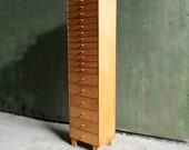 Vintage 1980s filing drawers collectors cabinet, satinwood filing drawers, 18 drawer filing bank of drawers, collectors cabinet