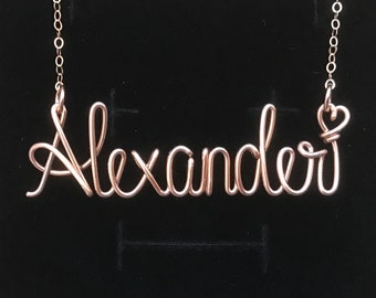 Custom Name Necklace, 14k Rose gold filled, Sterling Silver, solid copper, Personalized Name Necklace, wire wrap name necklace, Name Jewelry